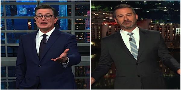 Stephen Colbert and Jimmy Kimmel are seriously amused Trump got trolled by a parody presidential seal