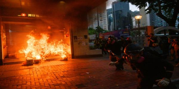 Tear gas, Molotovs and brawls mark 99th day of Hong Kong protests