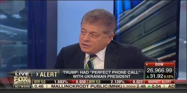 Fox's Judge Napolitano: Trump's 'Act of Corruption' With Ukraine Is 'Most Serious Charge' He's Faced Yet