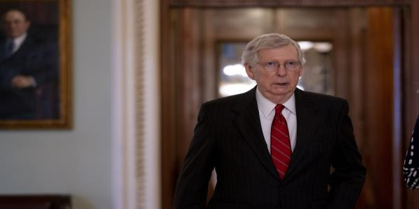 McConnell Greeted at Home by Protests, Pressure Over Gun Laws