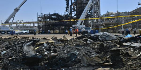 Scenes of destruction at Saudi oil plant hit by attacks